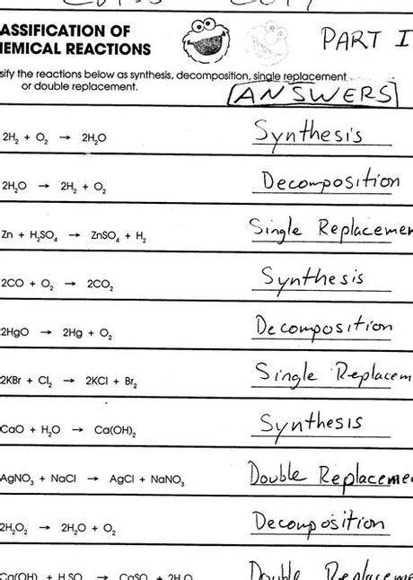 5 what are different types of chemical equations? Balancing Chemical Equations Worksheet Answer Key