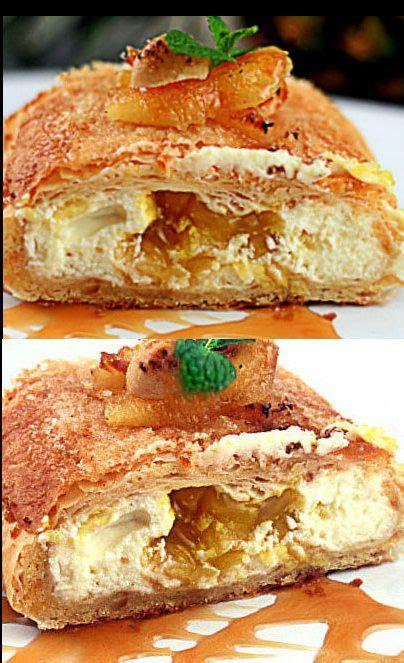 In a medium saucepan, add apples, sugar, vanilla, orange/lemon peel, cinnamon and cornstarch. Super Easy Pineapple Cheese Strudel using phyllo and ...