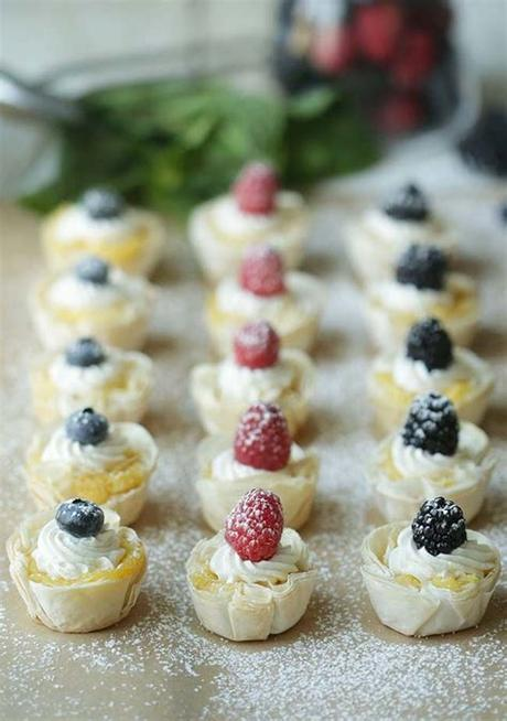 This sweet dessert pastry is made with thin, flaky, buttery layers of phyllo dough and filled with sweet apricots, lightly salted pistachio nuts, and a bit of brown sugar. Mini Lemon Tart Recipe with Phyllo Dough and Fresh Berries ...