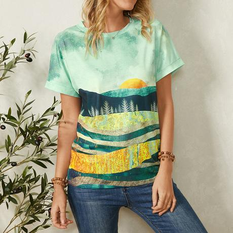 Landscape Print Loose O-neck Short Sleeve Casual T-Shirt For Women