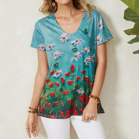 Flower Print V-neck Short Sleeve T-Shirt For Women