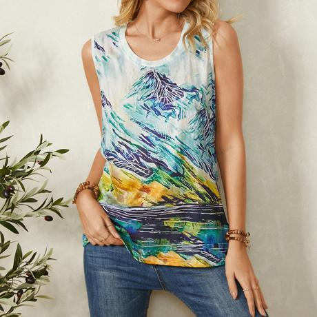 Landscape Print O-neck Sleevless Casual Tank Top For Women