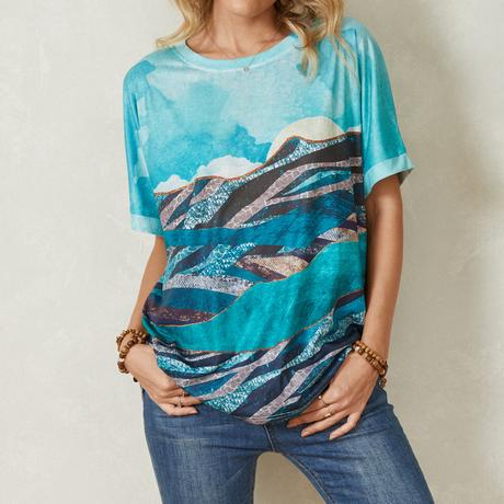 Landscape Print Short Sleeve O-neck Casual T-Shirt For Women