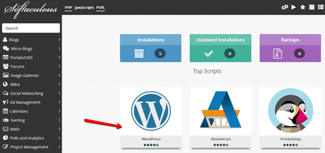 locate wordpress in softaculous