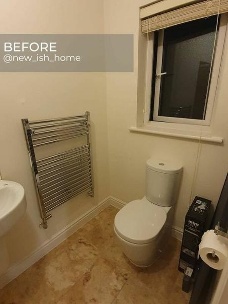 chrome towel rail in an old bathroom