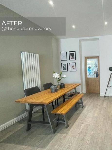 modern vertical radiator in a scandi dining room