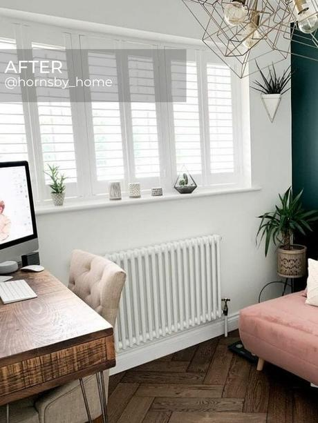 white column radiator in a home office after renovation