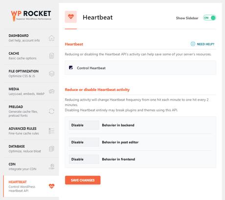 wp rocket heartbeat settings
