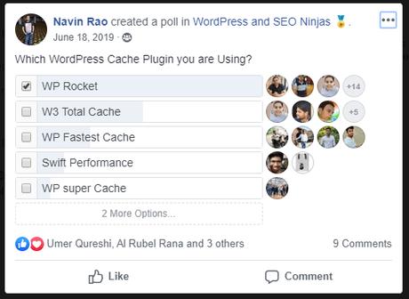 wp rocket facebook poll result