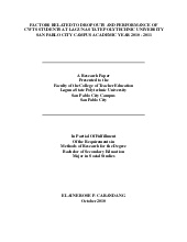 Thesis presented to the graduate faculty of the college of education usc cebu city, philippines in partial fulfillment of the requirements for the degree ma in science teaching chemistry. Thesis Elaine
