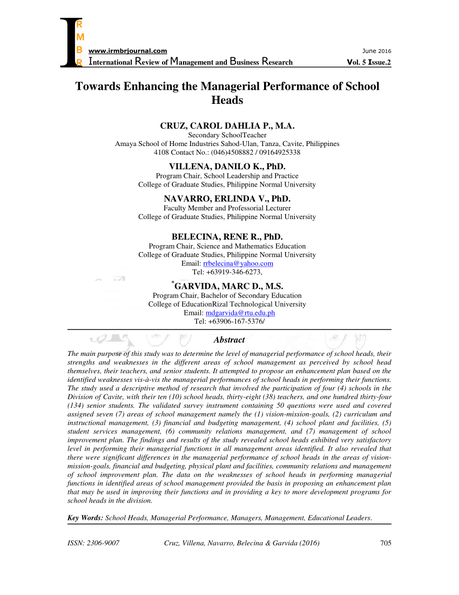 Pdf Towards Enhancing The Managerial Performance Of School Heads