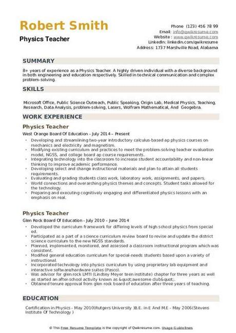 How to make a great resume with no experience. Physics Teacher Resume Samples | QwikResume