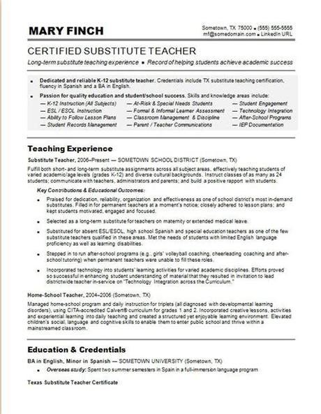Cv format pick the right format for your situation. Substitute Teacher Resume Sample | Monster.com