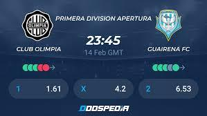 Guaireña fc is playing next match on 16 apr 2021 against club olimpia in primera division, apertura.when the match starts, you will be able to follow guaireña fc v club olimpia live score, standings, minute by minute updated live results and match statistics. Club Olimpia Guairena Fc Live Score Stream Odds Stats News