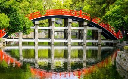Enchanting Travels Japan Tours Osaka Osaka, Japan at the Taiko Drum Bridge of Sumiyoshi Taisha Grand Shrine