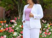 Talbots Linen Pantsuit: White with Lavender