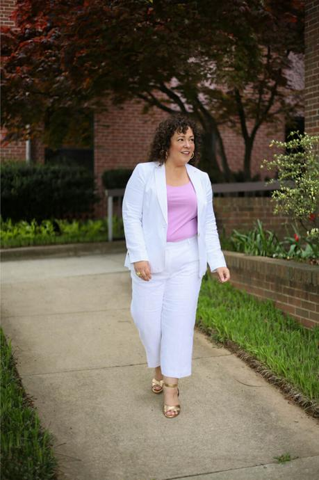 Talbots Linen Pantsuit: White with Lavender