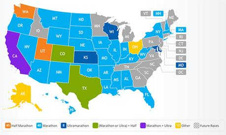 Mike Sohaskey's 50 States map on RaceRaves as of Oct 2020