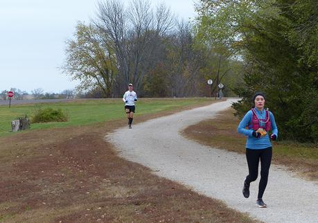 Mike Sohaskey approaching Princeton aid station during Kansas Rails-to-Trails Fall Ultra Extravaganza