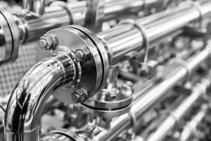 Stainless steel pipework close up