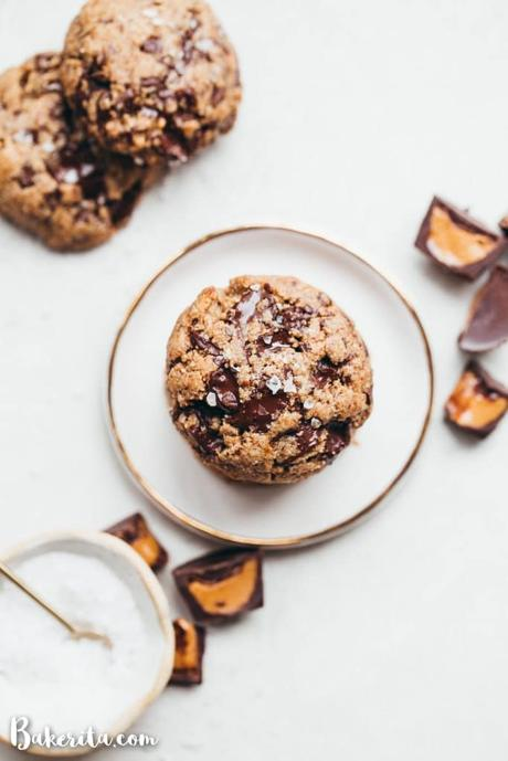 You need to try these delicious Peanut Butter Chocolate Chip Cookies - they're full of chopped up mini peanut butter cups that we fold into the dough along with the dark chocolate chunks! You'll love these gluten-free, grain-free, refined sugar-free, and vegan cookies.