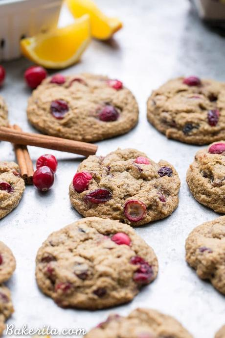 These Gluten-Free Cranberry Orange Cookies are soft, chewy and bursting with flavor! They're loaded with cinnamon, orange zest, fresh tart cranberries, and chewy dried cranberries. Perfect for the holidays!