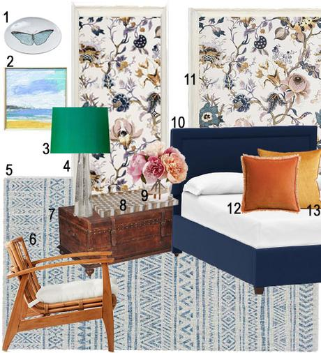 Scheming: Not Too Feminine Floral Bedroom by Thiara Borges