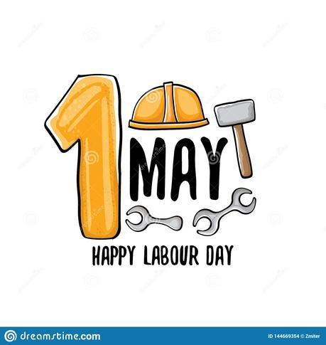 Cartoon Happy Labour Day Vector Label Isolated On White Vector Happy Labor Day Background Or Banner With Engineer Stock Vector Illustration Of Greeting Banner 144669354