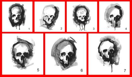 New Ink-Wash Skull Designs Tote Bags