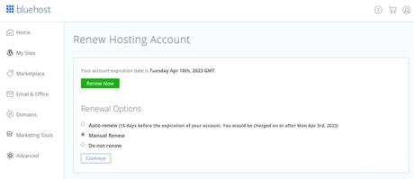 bluehost renew hosting
