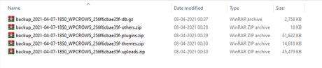 updraftplus backup zip files
