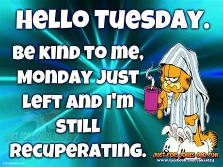 If tuesday were a movie, it would be called monday back again. Garfield | Tuesday quotes funny, Good morning quotes ...
