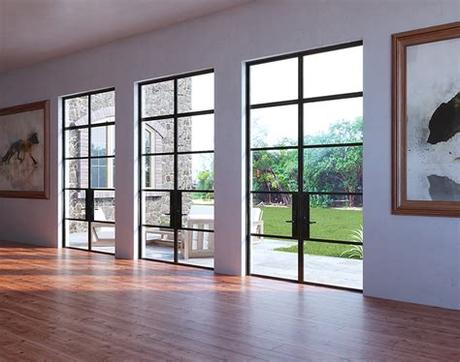 Read company reviews and ratings. Custom Steel Grid Double Glass Door Sets - A28 - Abby Iron ...