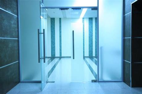 Double sliding glass barn doors Glass interior doors