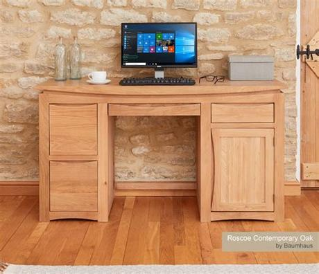 Soft and stylish in equal measure, clarice is a chair with flair. Baumhaus Roscoe Contemporary Oak Home Office Desk - Nico ...