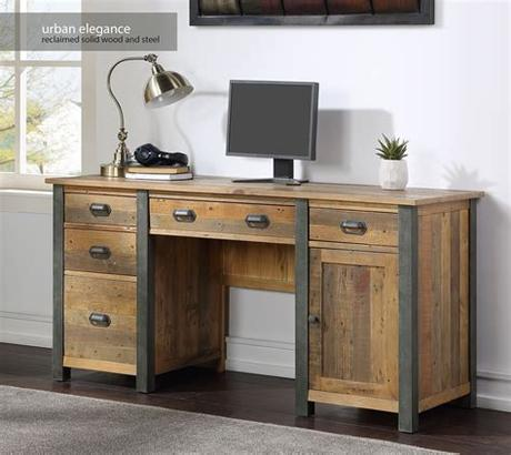 Don't worry, we also offer a bespoke office and home office solution. Urban Elegance - Reclaimed Twin Pedestal Home Office Desk ...