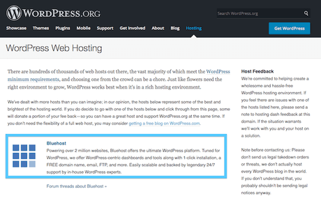 WordPress recommends bluehost hosting