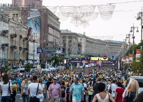 Downtown Kiev, at the height of Euro 2012 madness - minutes before the Ukraine-Sweden match.