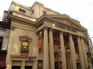 The exterior of the Lyceum theatre, London.