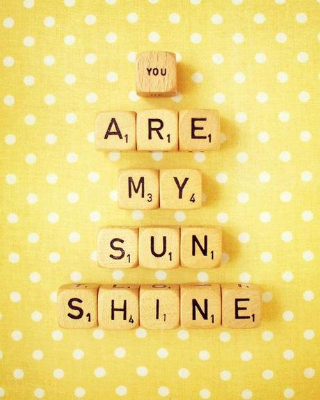 You Are My Sunshine. Fine Art Photography. Retro Scrabble. Vintage Wood Dice. Home Décor. Nurser Art. Yellow. Polka Dots. Size 8x10