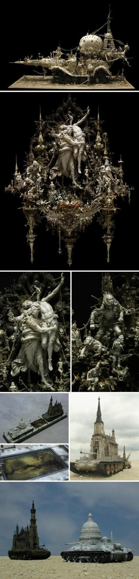 Incredibly intricate sculptures of gods, goddesses, monsters, and war, Kris Kuksi, baroque, rcococo