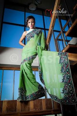 Mansha Grand Sarees Eid Collection  For Ladies 2012