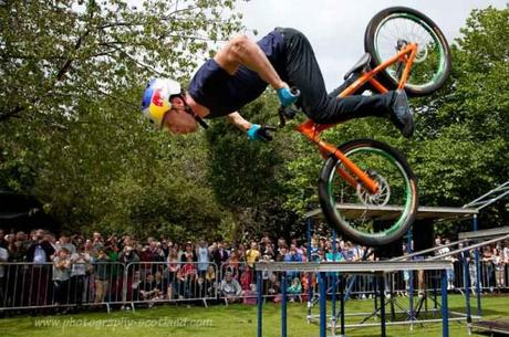 Picture - Danny MacAskill performs bike stunts at the Edinburgh Fringe