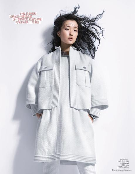 Super Model Du Juan in Modern White Photographed by Benjamin Kanarek for VOGUE China