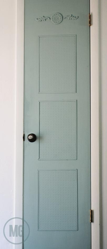 how a little trip to @HobbyLobby helped gived my builder's grade pantry door some vintage style...