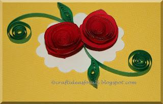 Summer Craft Classes - Spiral roses card  with paper quilling