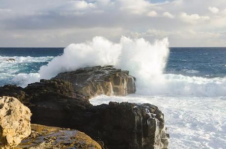 waves breaking near the springs