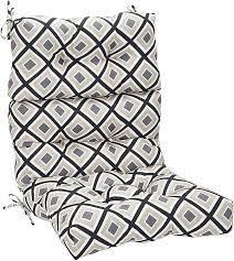 The cushion is 21w x 44l x 4.5t and has 4 sets. Amazon Com Amazon Basics Tufted Outdoor High Back Patio Chair Cushion Black Geo Garden Outdoor