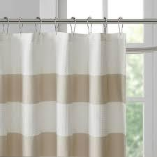 The shower curtain boasts a waffle weave texture, making it the perfect addition to any bath décor. Spa 108 X 72 Taupe Striped Shower Curtain