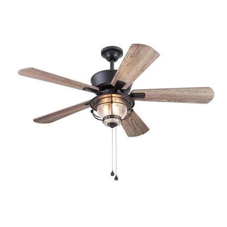 Harbor Breeze Merrimack Ii 52 In Bronze Led Indoor Outdoor Ceiling Fan With Light 5 Blade In The Ceiling Fans Department At Lowes Com
